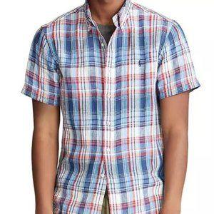 Ralph Lauren Short Sleeve Linen Plaid Shirt NWT
